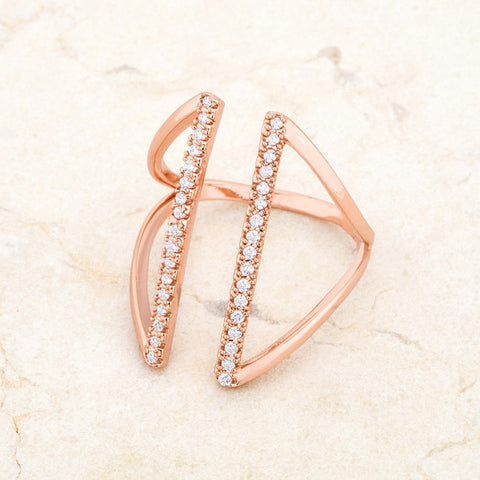 Jena Rose Gold Delicate Parallel Fashion Cocktail Ring | .8 Carat |Cubic Zirconia - Beloved Sparkles  - 5