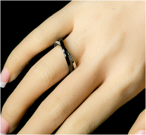 Karri Double Band Black Ceramic Ring | 0.2 Carat | Cubic Zirconia  | Sterling Silver - Beloved Sparkles  - 5