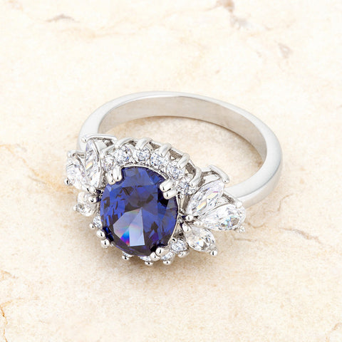 Krizia Tanzanite Classic Cluster Cocktail Ring  | 5.5 Carat | Cubic Zirconia - Beloved Sparkles  - 5