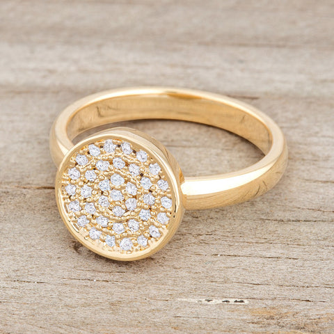Krystal 14k Gold Pave Circle Cluster  Fashion Cocktail Ring | .8 Carat |Cubic Zirconia - Beloved Sparkles  - 4