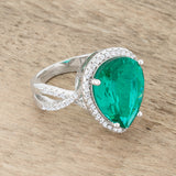 Laura Aqua Green Pear Halo Classic Cocktail Ring | 10 Carat | Cubic Zirconia - Beloved Sparkles  - 5