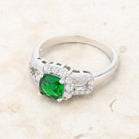 Liz Emerald Green Classic  Cocktail Ring  | 2 Carat | Cubic Zirconia - Beloved Sparkles  - 5
