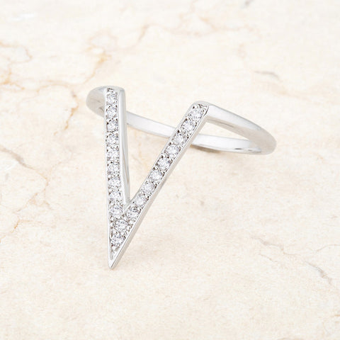 Michelle Delicate V-Shape  Fashion Cocktail Ring | 0.5ct | Cubic Zirconia | Silver - Beloved Sparkles