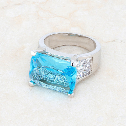 Mina Aqua Blue Cluster Statement Cocktail Ring | 16ct | Cubic Zirconia | Silver - Beloved Sparkles
