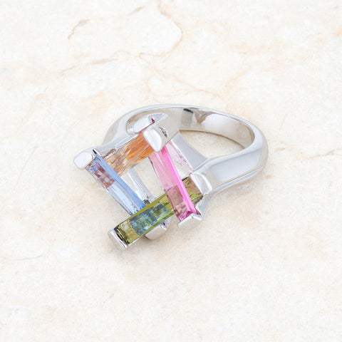 Myra Multicolor Cluster Cocktail Ring | 10ct | Cubic Zirconia - Beloved Sparkles  - 5