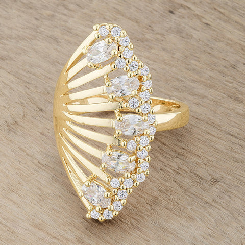 Natalie 14k Gold Art Deco Contemporary Ring | 2.5  Carat |Cubic Zirconia - Beloved Sparkles  - 5