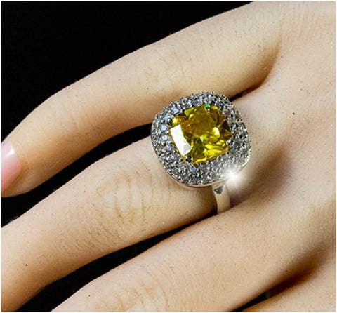 Regina Canary Yellow Cushion Cut Cocktail Ring | 5 Carat | Cubic Zirconia - Beloved Sparkles  - 5