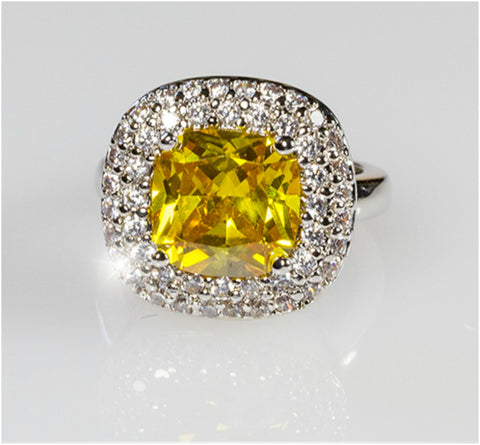Regina Canary Yellow Cushion Cut Cocktail Ring | 5ct | Cubic Zirconia | Silver