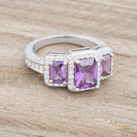 Rita Three Stone Amethyst Purple Radiant Cut Cocktail Ring | 5 Carat | Cubic Zirconia - Beloved Sparkles  - 5