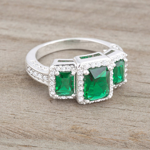 Rita Three Stone Emerald Radiant Cut Cocktail Ring | 5 Carat | Cubic Zirconia - Beloved Sparkles  - 5