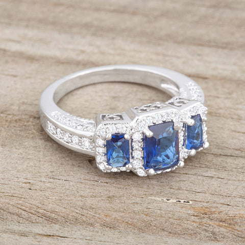 Rita Three Stone Sapphire Blue Radiant Cut Cocktail Ring | 5 Carat | Cubic Zirconia - Beloved Sparkles  - 5