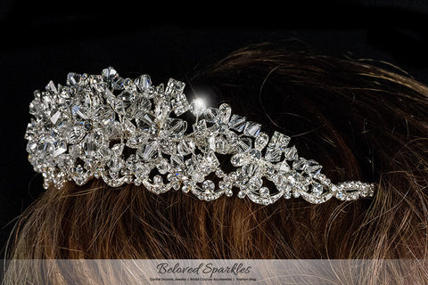 Azalea Crystal Flower Silver Tiara | Swarovski Crystal - Beloved Sparkles  - 5