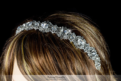 Kylie Oval Cluster Silver Headband | Swarovski Crystal - Beloved Sparkles  - 5