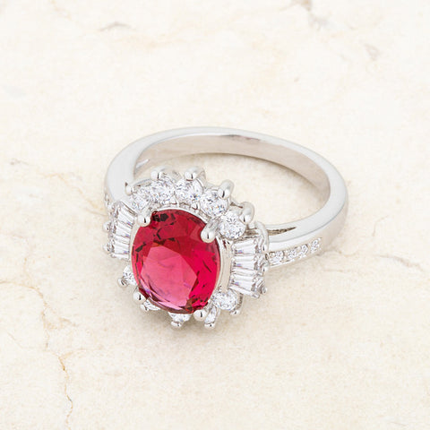 Chrisalee Fuchsia Pink Classic Cluster Cocktail Ring  | 4.5 Carat | Cubic Zirconia - Beloved Sparkles