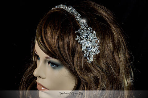 Keena Ribbon Cluster Silver Headband | Swarovski Crystal - Beloved Sparkles  - 6