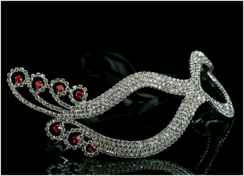 Dicey Ruby Art Deco Silver Masquerade Mask | Crystal | Silver
