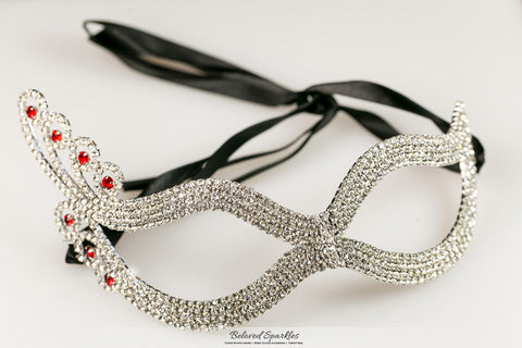 Dicey Ruby Art Deco Silver Masquerade Mask | Silver | Crystal - Beloved Sparkles  - 1