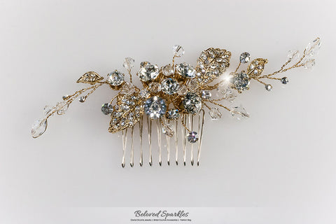 Derica Curved Leaves Gold Hair Comb | Swarovski Crystal - Beloved Sparkles