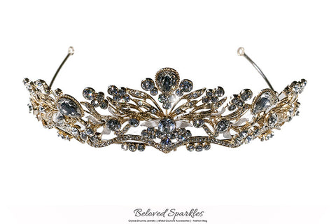 Sabella Victorian Art Deco Gold Tiara | Swarovski Crystal - Beloved Sparkles  - 6