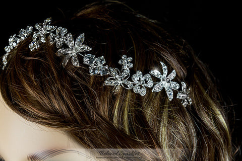 Loretta Flower Forehead Silver Headband | Swarovski Crystal - Beloved Sparkles  - 6