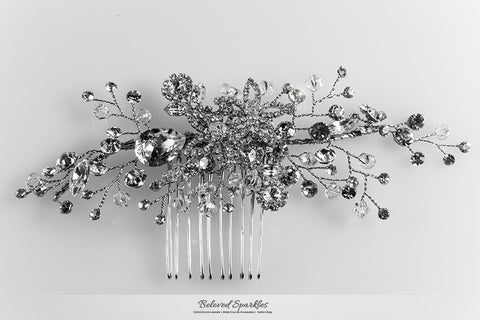 Sisley Garden Flower Leaves Hair Comb | Swarovski Crystal - Beloved Sparkles  - 6