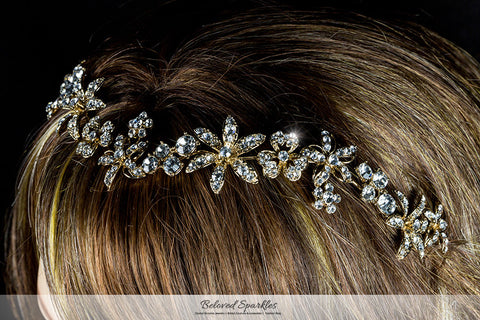 Loretta Flower Forehead Gold Headband| Swarovski Crystal - Beloved Sparkles  - 5