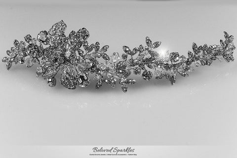 Lizabeth Ila Long Floral Cluster Hair Clip | Swarovski Crystal - Beloved Sparkles  - 6