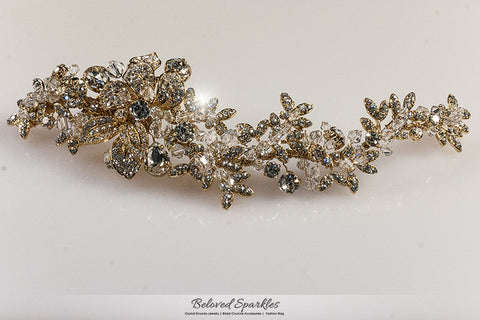 Lizabeth Ila Long Floral Cluster Gold Hair Clip | Swarovski Crystal - Beloved Sparkles  - 6