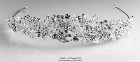Leda Cluster Statement Silver Tiara | Swarovski Crystal - Beloved Sparkles  - 6
