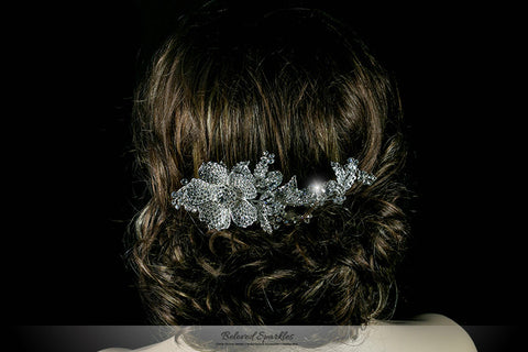Adele Vintage Flower Statement Hair Comb | Swarovski Crystal - Beloved Sparkles  - 4