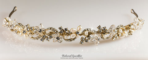 Eva Floral Pearl Gold Headband | Swarovski Crystal - Beloved Sparkles  - 6