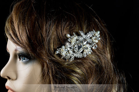 Florence Flower White Pearl Cluster Hair Clip | Swarovski Crystal - Beloved Sparkles
