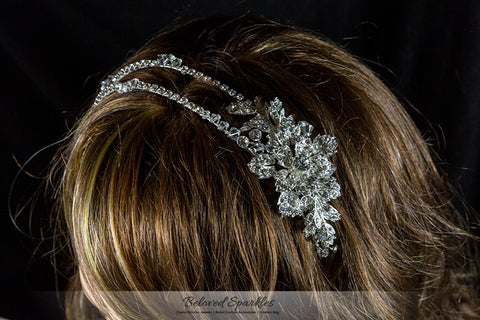 Sandra Two Row Floral Silver Headband | Swarovski Crystal - Beloved Sparkles  - 6