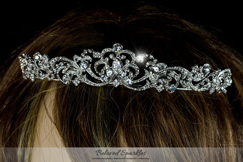 Brianna Romantic Royal Silver Tiara | Swarovski Crystal - Beloved Sparkles  - 6