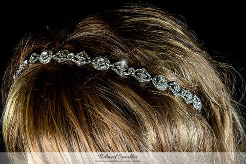 Rena Vintage Silver Hair Tie Headband | Swarovski Crystal - Beloved Sparkles  - 6