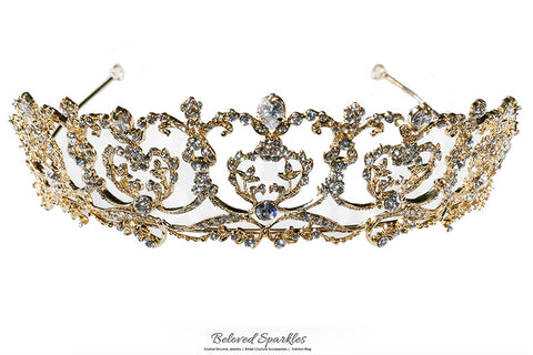 Olina Heart Cluster Gold Tiara | Swarovski Crystal - Beloved Sparkles  - 6