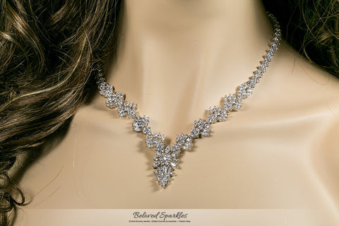 Nichelle Marquise Cluster Statement Necklace Set | Cubic Zirconia - Beloved Sparkles  - 5
