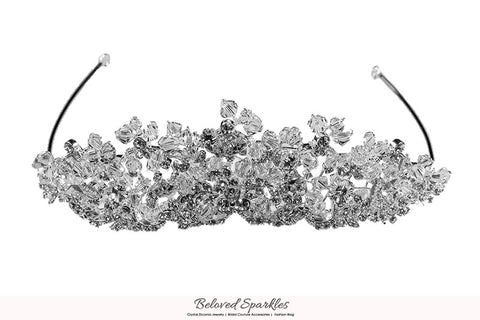 Madison Garden Cluster Silver Tiara | Swarovski Crystal - Beloved Sparkles  - 6