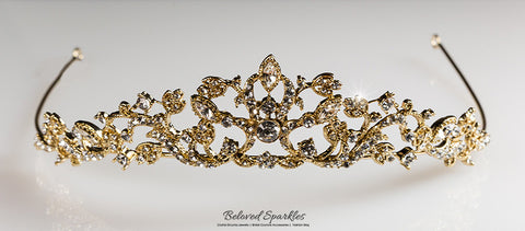 Nedda Art Deco Filigree Tiara | Gold | Swarovski Crystal - Beloved Sparkles  - 6