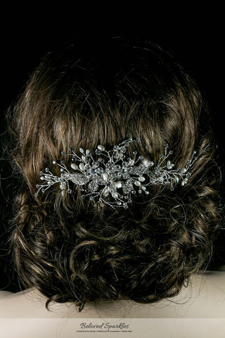 Vicky Floral Spray White Pearl Hair Comb | Pearl | Swarovski Crystal - Beloved Sparkles  - 6