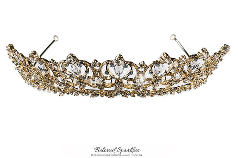 Marissa Vintage Art Deco Gold Tiara | Swarovski Crystal - Beloved Sparkles  - 6