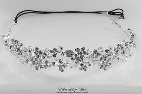 Cherise Two Row Flower Silver Headband | Swarovski Crystal - Beloved Sparkles  - 6