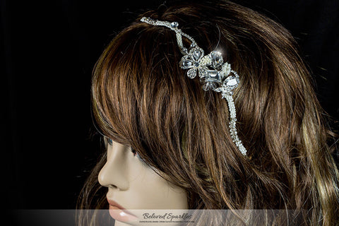 Rosalba Twin Flower Pearl Silver Headband | Swarovski Crystal - Beloved Sparkles  - 5
