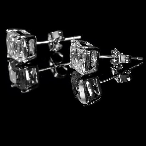 Haley Princess Cut Stud Earrings  – 6mm  | 1.5ct | Sterling Silver