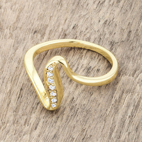 Sheryl 14k Gold Simple Wave Fashion  Ring | .3 Carat | Cubic Zirconia - Beloved Sparkles  - 5