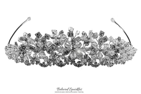Azalea Crystal Flower Silver Tiara | Swarovski Crystal - Beloved Sparkles  - 6