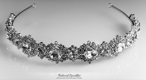 Kylie Oval Cluster Silver Headband | Swarovski Crystal - Beloved Sparkles  - 6