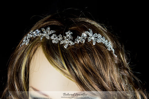 Loretta Flower Forehead Silver Headband | Swarovski Crystal - Beloved Sparkles  - 7
