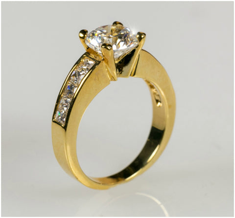 Alnor Classic Round Solitaire Engagement Ring | 3.5ct | Cubic Zirconia | 18k Gold