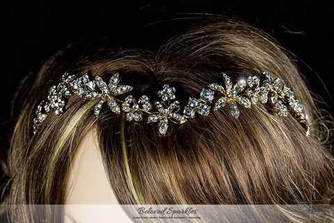 Loretta Flower Forehead Gold Headband| Swarovski Crystal - Beloved Sparkles  - 6